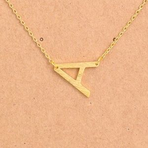 "Jewelry - Letter ""A"" Dainty Gold Initial Necklace"